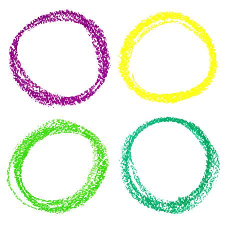 Set van Mardi Gras cirkel plekken van pastel krijt, geïsoleerd op een witte achtergrond