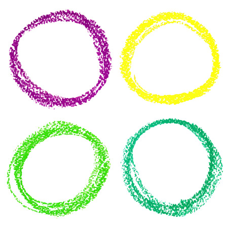 Set of Mardi Gras circle spots of pastel crayon, isolated on white background Illustration