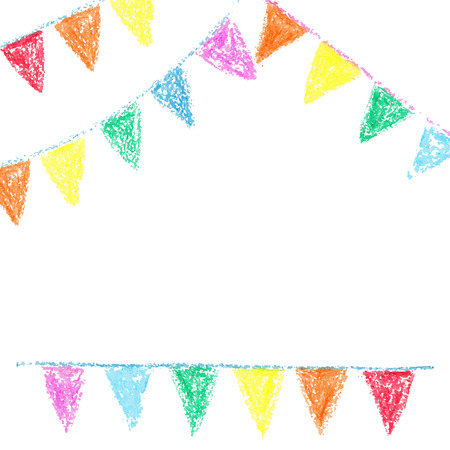 Wax crayon party bunting, isolated on white background Vector