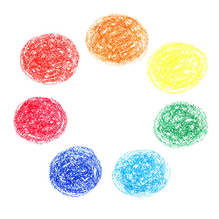 Set of colored spots of wax crayons, isolated on white background Vector