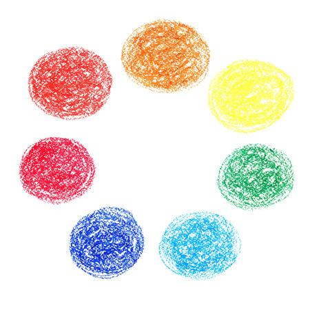 Set van gekleurde vlekken van waskrijt, geïsoleerd op een witte achtergrond Stock Illustratie