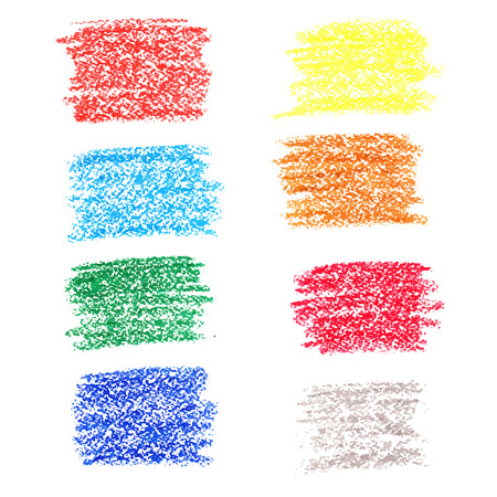 Set of colored spots of wax crayons, isolated on white background Ilustração