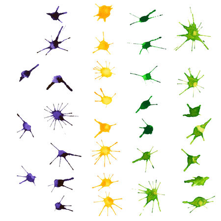 blots: Mardi Gras design elements. Watercolor blots.