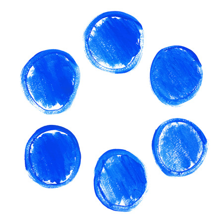 Set of blue acrylic round stains Vector