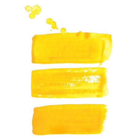 Gele inkt vector penseelstreken