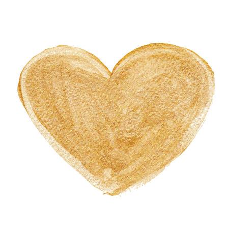 Gold acrylic heart. Hand drawn. Vector