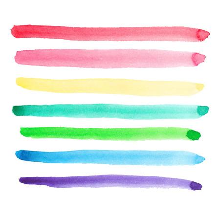 Set van levendige aquarel penseelstreken