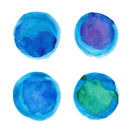 blue circles: Set of watercolor blue circles Illustration