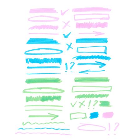 Set van kleurrijke hoogtepunt elementen Stock Illustratie