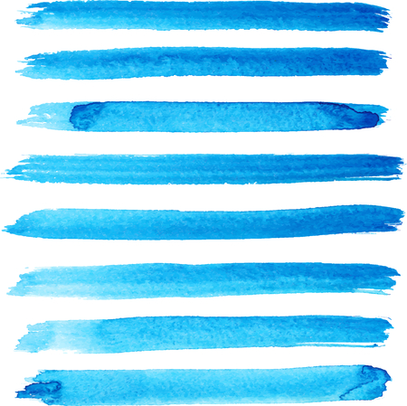 Set of bright blue color brush strokes Vectores
