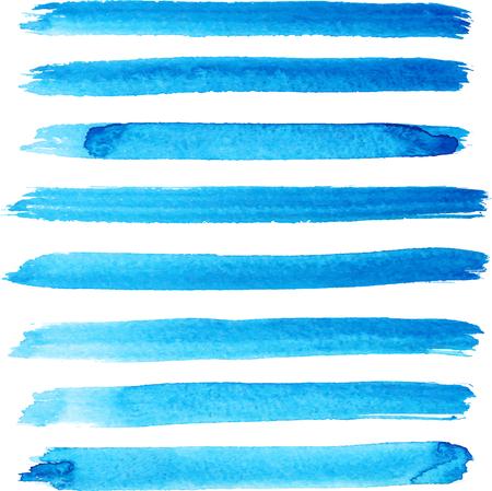 Set of bright blue color brush strokes Illustration
