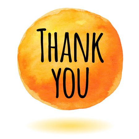 thanks: Thank you card with orange watercolor circle