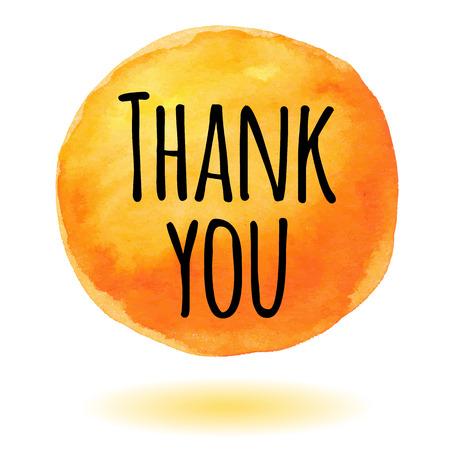 gratitude: Thank you card with orange watercolor circle