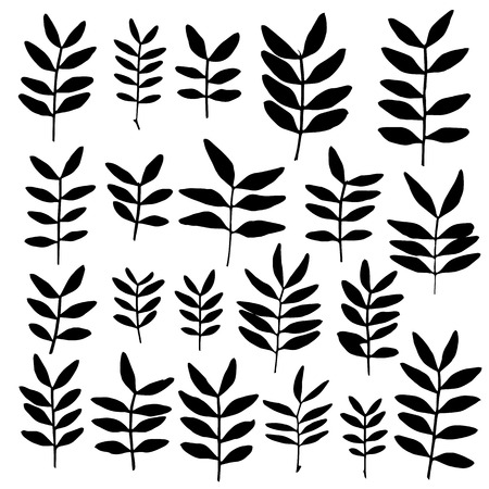 siding: Set of branch silhouettes with leaves. Illustration