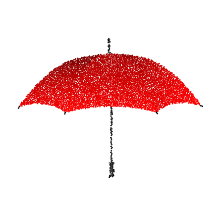 red umbrella: Dotted red umbrella. Engraving illustration.