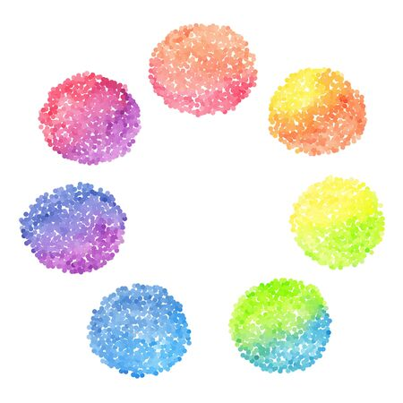color pencil: Set of rainbow dotted circles Illustration