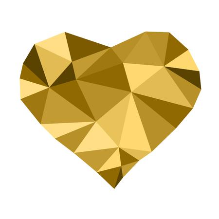 golden heart: Low poly golden heart Illustration