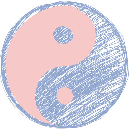 quartz: Doodle yin yang symbol. Rose quartz and serenity colors.