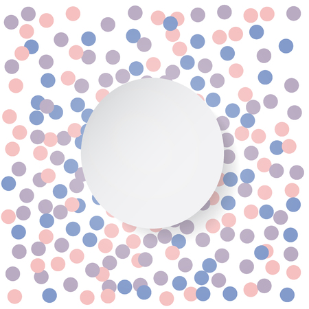 serenity: Confetti backdrop with white banner. Rose quarts and serenity colors. Vector illustration.