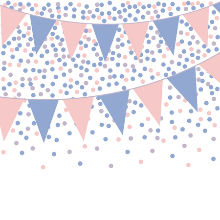 Rose quartz and serenity bunting background with confetti. Vector illustration.