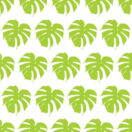 Monstera silhouettes seamless pattern. Vector illustration. Tropical leaves.
