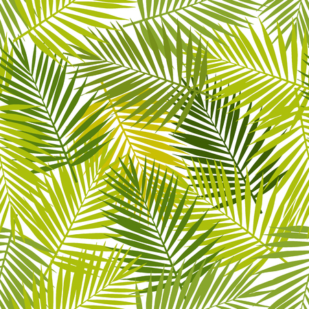 ヤシの葉シルエットのシームレスなパターン。ベクトルの図。熱帯の葉。  イラスト・ベクター素材
