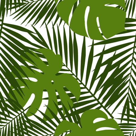 monstera leaf: Palm leaf and monstera silhouettes seamless pattern. Vector illustration. Tropical leaves.