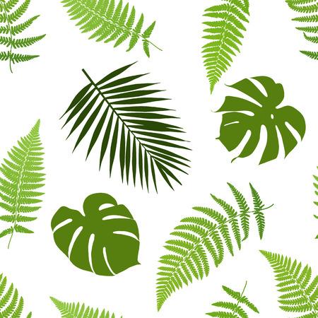 熱帯の葉のシームレスなパターン。ベクトルの図。  イラスト・ベクター素材
