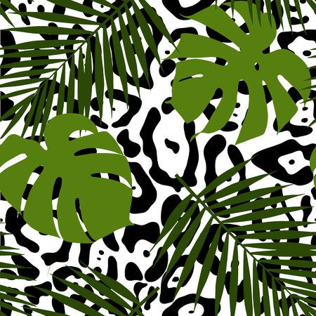 Hojas tropicales y modelo inconsútil de la piel animal. Ilustración del vector. Foto de archivo - 51914873