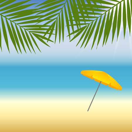 parasol: Yellow parasol at the beach under palm trees. Vector illustration Illustration