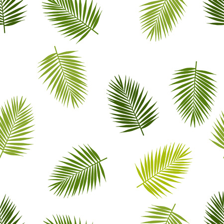 leaf color: Palm leaf silhouettes seamless pattern. Tropical leaves.