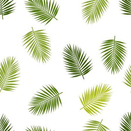Palmblad silhouetten naadloos patroon. Tropische bladeren. Stock Illustratie