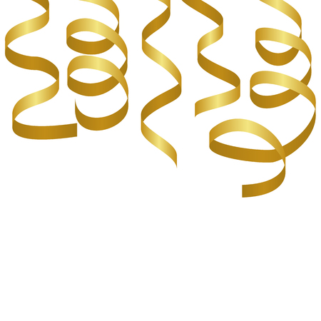 party streamers: Golden party streamers. Carnival serpentine