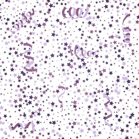 streamers: Violet background with stars and streamers