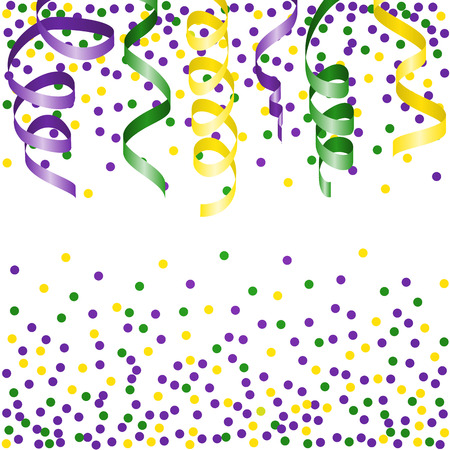 Mardi Gras background with streamers and confetti.