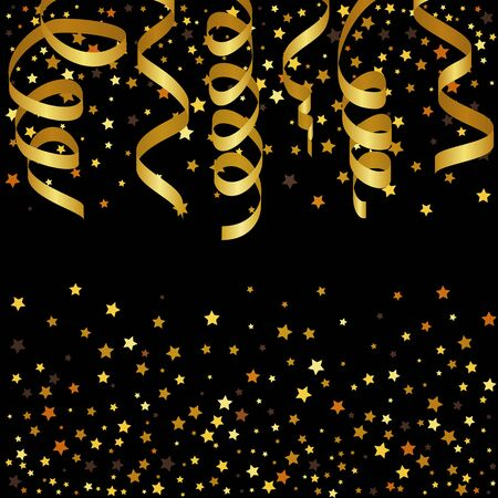 streamers: Christmas background with gold streamers and star confetti.