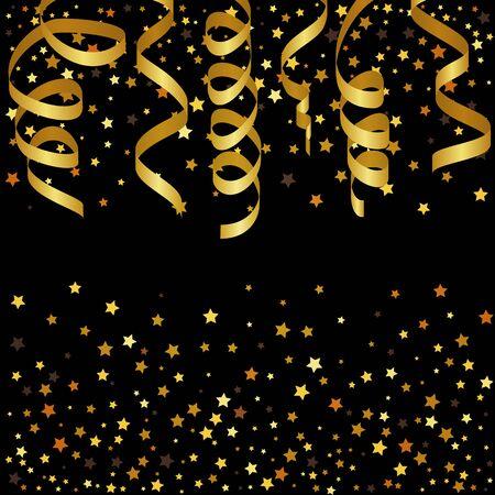 serpentinas: Fondo de Navidad con cintas de oro y estrella de confeti.