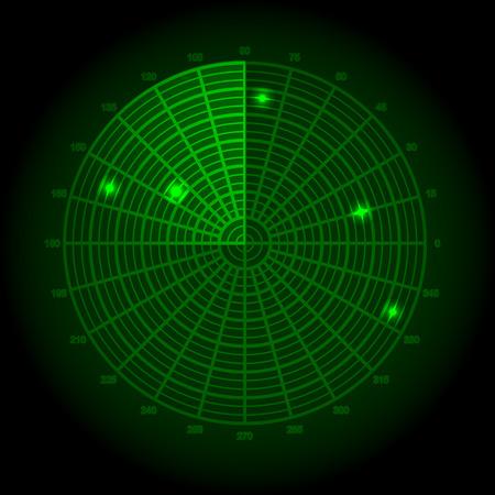 blip: Green radar screen Illustration