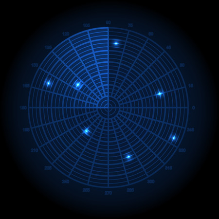 Blue radar screen. Vector illustration.