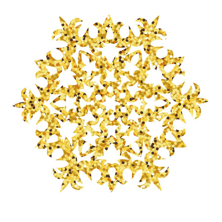 Christmas gold card with snowflake. illustration Illustration