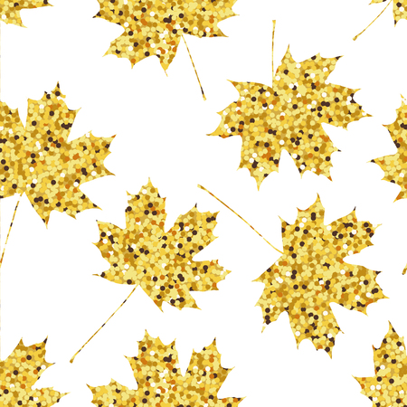 Seamless pattern with golden maple leaves. illustration
