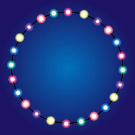 holiday greeting: Christmas lights border. Holiday greeting card design. Garland.