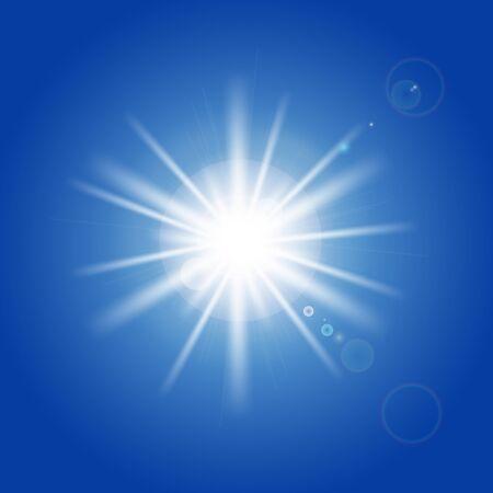 Sun rays and light effects on blue sky. Vector illustration Illustration