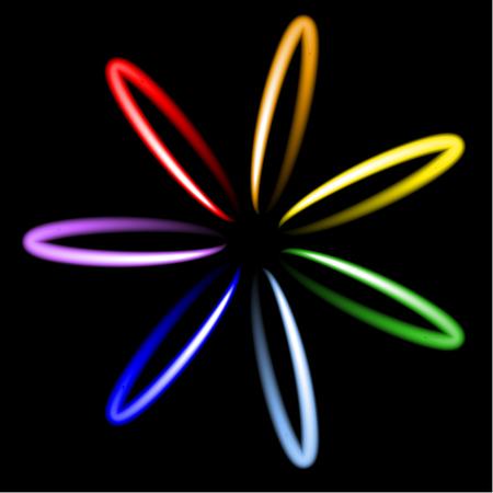 techology: Neon rainbow flower. Vector illustration.