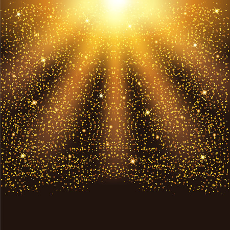 Golden falling sparkling particles and stars. Confetti Glitters.  Vector illustration.