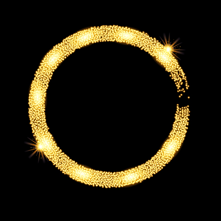 gold circle: Gold glitter circle banner with stars. Vector illustration