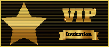 VIP club party premium invitation card flyer with star. Black and gold template. Vector illustration Illustration