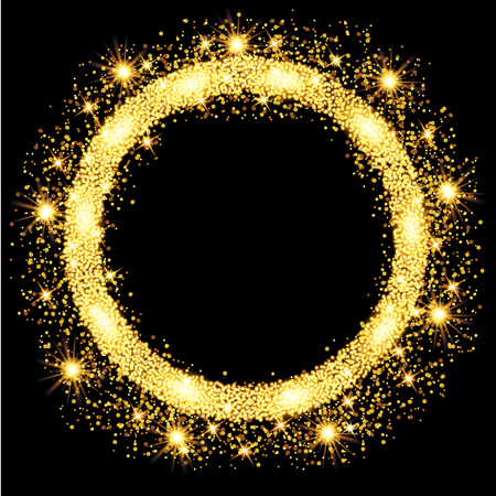 Gold glow glitter circle frame with stars. Vector illustration.