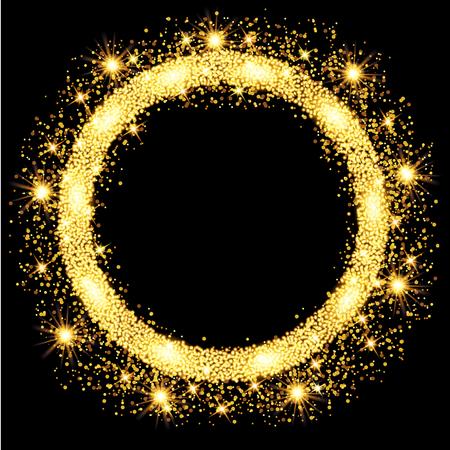 Gouden gloed glitter cirkel frame met sterren. Vector illustratie.