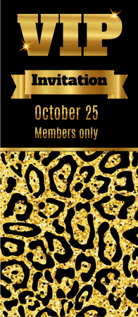 party club: VIP club party premium invitation card flyer. Black and gold template. Vector illustration